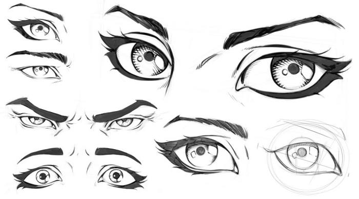 bleistift zeichnungen einfach, manga augen ideen, zeichnen lernen, augen skizzieren