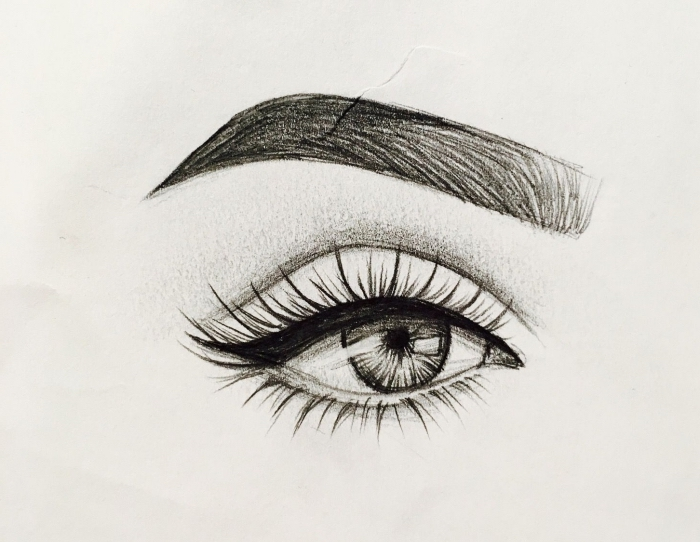 schwarz graue zeichnung, bleistift zeichnungen einfach. realistische frauenauge, wass zeichne ich heute