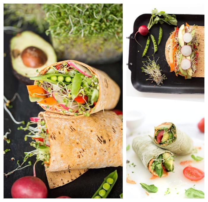 burittos selber machen, low carb rezepte, vegetarische wraps mit bohnen, kräutern, tomaten und avocado