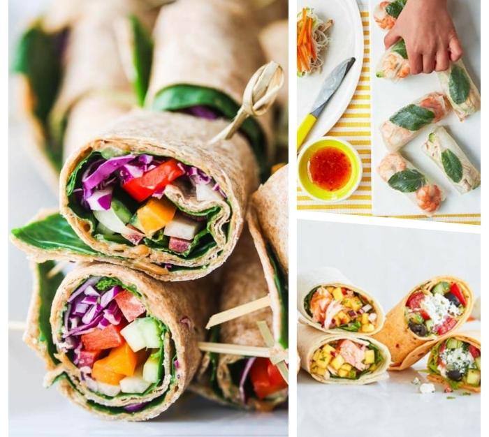 burittos selber machen, wraps mit reis, frühlingsrollen zubereiten, vegetarische tortillas