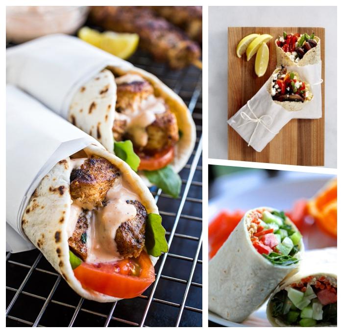 burittos selber machen, wraps rezepte ideen, füllung aus fleisch, tomaten und käse, creme soße