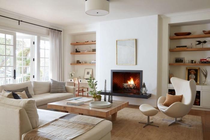 cappuccino farbe ideen, wohnzimmer einrichten, kleines wohnzimmer ideen, tisch aus massivholz