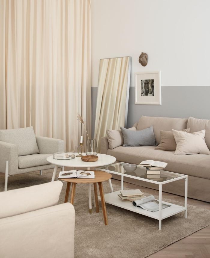 wohnzimmer gestalten, wohnzimmerdeko in pastellfarben, cappuccino farbe, desginer tische