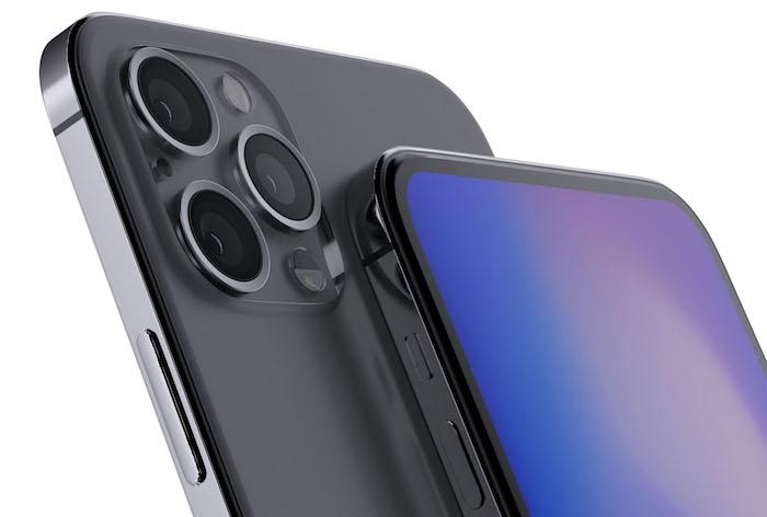 zwei große graue smartphones, das neue iphone 12, ein graues handy mit drei kameras und mit einem blauen bildschirm