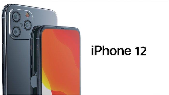zwei große graue smartphones mt drei kameras mit sensoren und mit einem orangen bildschirm, das logo von apple, das neue iphone 12