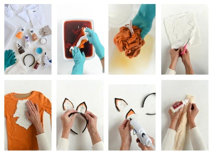 Schritt für Schritt DIY Anleitung und Zubehör zum Färben von Klamotte für Fuchs Kostüm in orange, fertigen von Bruststück