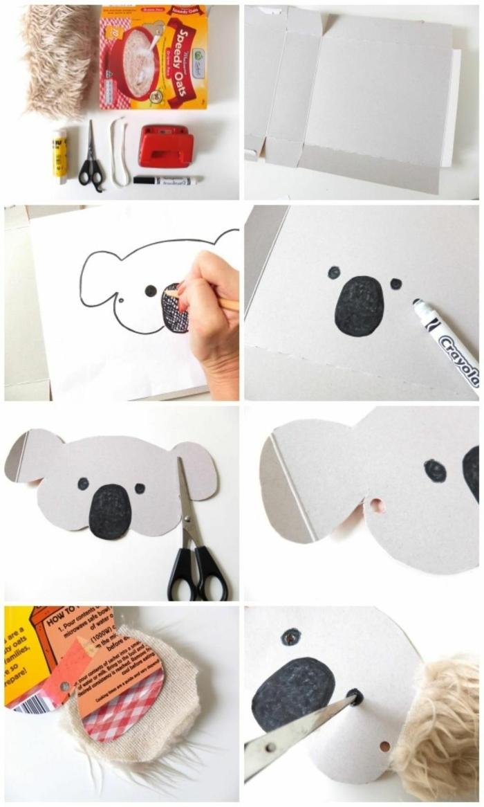 DIY Anleitung zur Koalamaske aus Karton, Kinderkostüme Fasching, Zubehör von Schere Klebestift und Marker