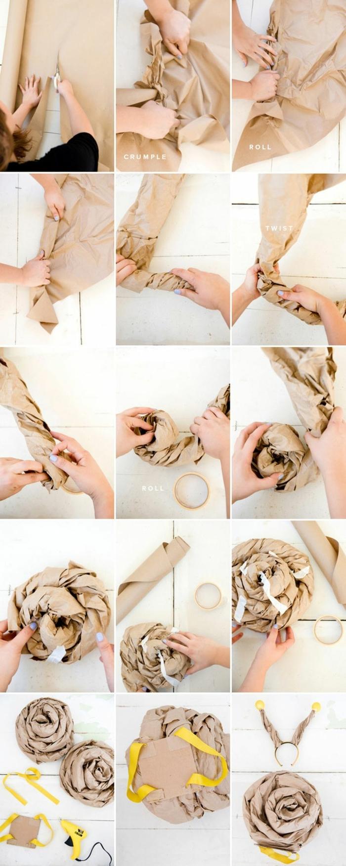 Kinder Faschingskostüme. DIY Anleitung für das Schneckenhaus aus Karaftpapier, Schritt für Schritt Anweisung