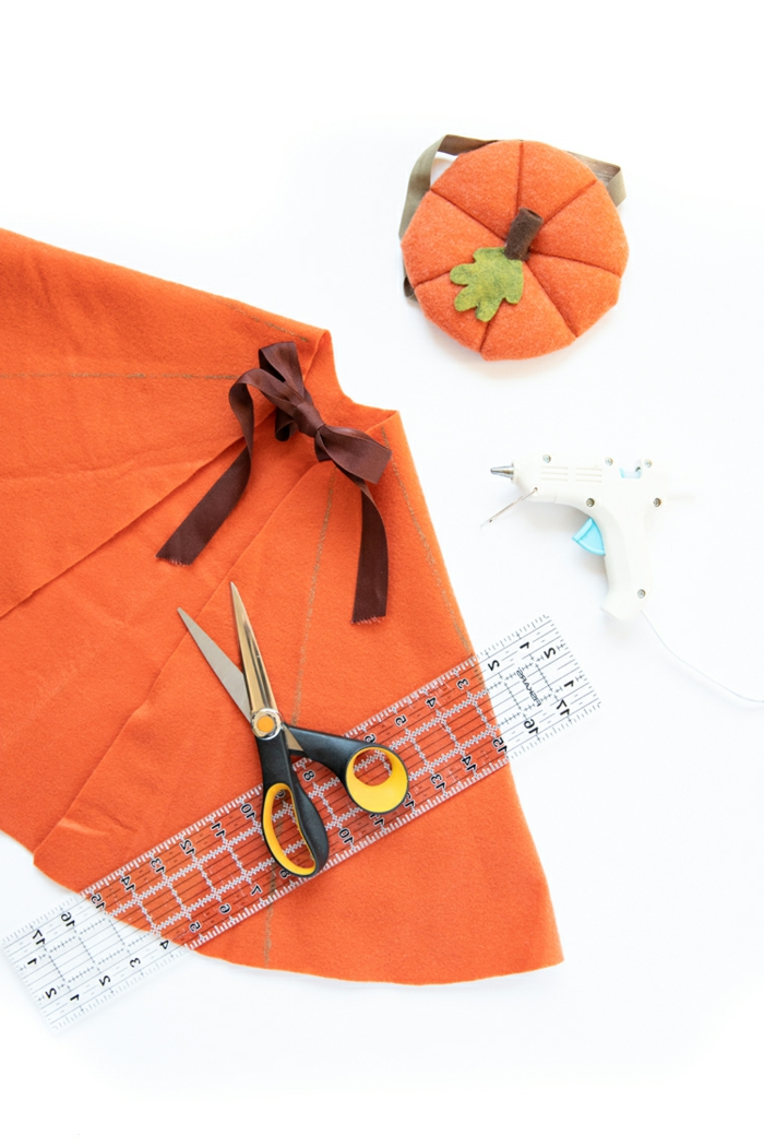Faschingskostüme für Kinder, DIY Anleitung für Umhang für Kürbis Kostüm mit Hut, Faschingskostüme Kinder Mädchen,