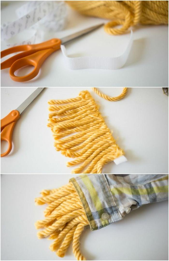 DIY Anleitung für die Strohmanschetten des Vogelscheuchen Kostüm, selbstklebendes Klettband und strohfarbenes Garn in Gelb