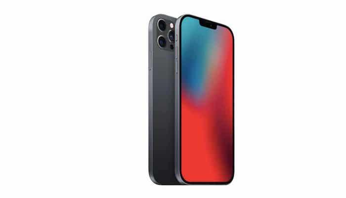 das neue iphone 12, zwei große graue handys mit kameras und mit einem roten bildschirm, das neue iphone 12