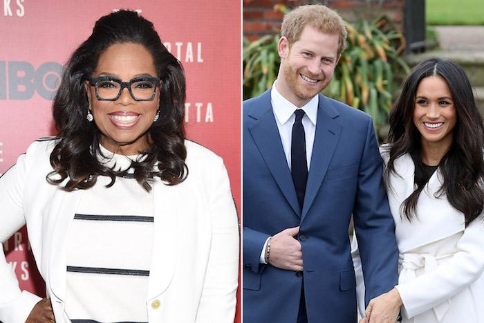 oprah winfrey und die rozale familie prinz harry und die herzogin meghan markle, ein mann mit einem blauen anzug, frau mit schwarzer brille