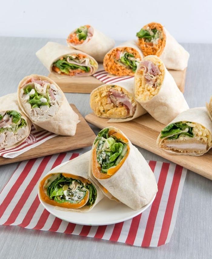 einfaches tortilla wraps rezept, verschiedene ideen, picknick essen einfach und schnell
