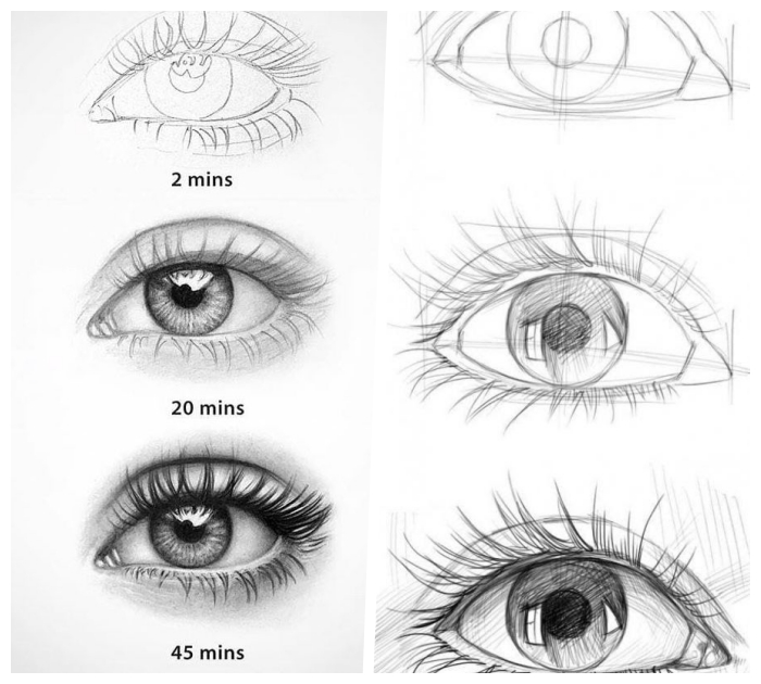 einfache zeichnungen zum nachzeichnen, augen zeichnen lernen, frauenaugen