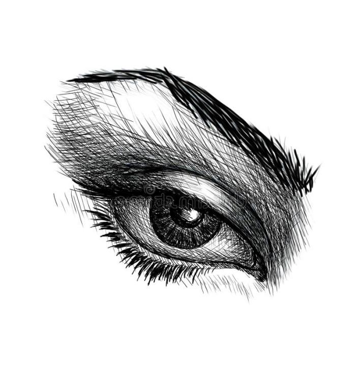 einfache anleitungen zum nachzeichnen, schwarz graue bilder, realtiisches auge