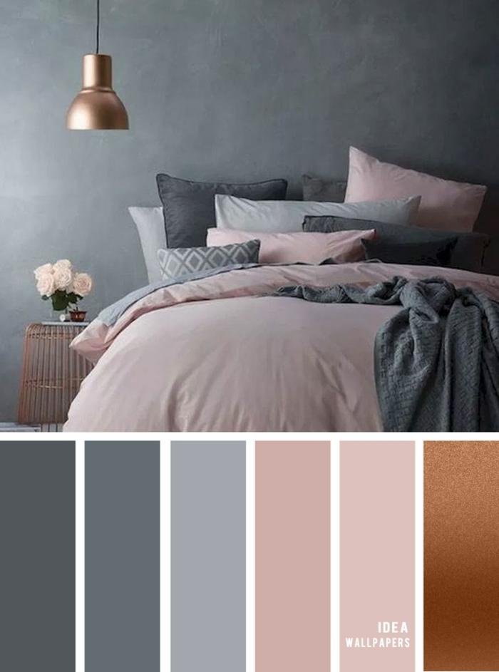 Schlafzimmer grau rosa, Bett mit Bettwäsche in rosa. Wand in grau, Farbpalette für Wandfarbe mit verschiedenen Schattierungen