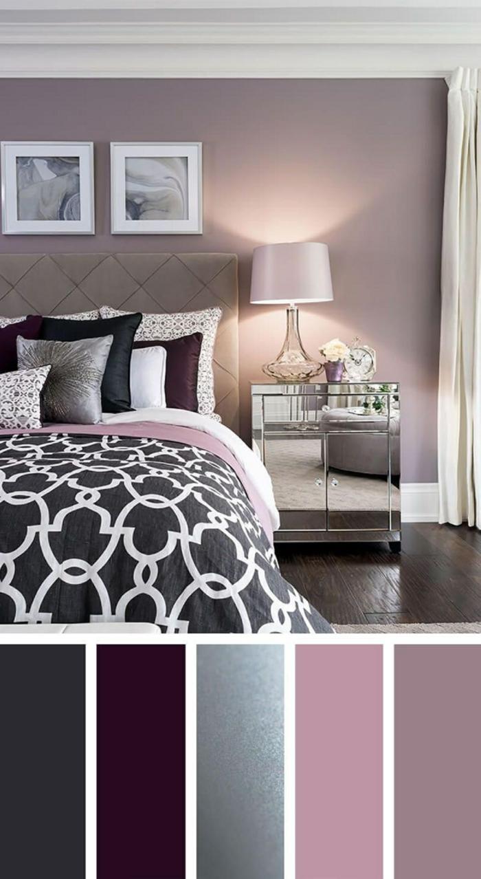 Schlafzimmer grau rosa. großes Bett mit schwarz weiße Bettwäsche, Farbpalette für Wandfarben in verschiedene Töne, verschiedenfarbige Kissen