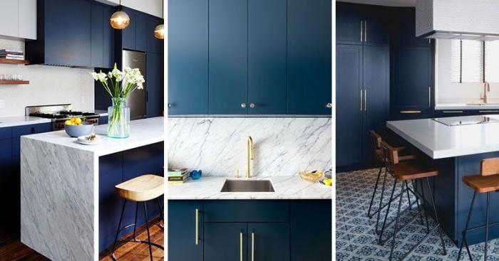 farbtrends 2020, küche gestalten, dunkelblaue schränke, küchenwand und kochplatte aus marmor