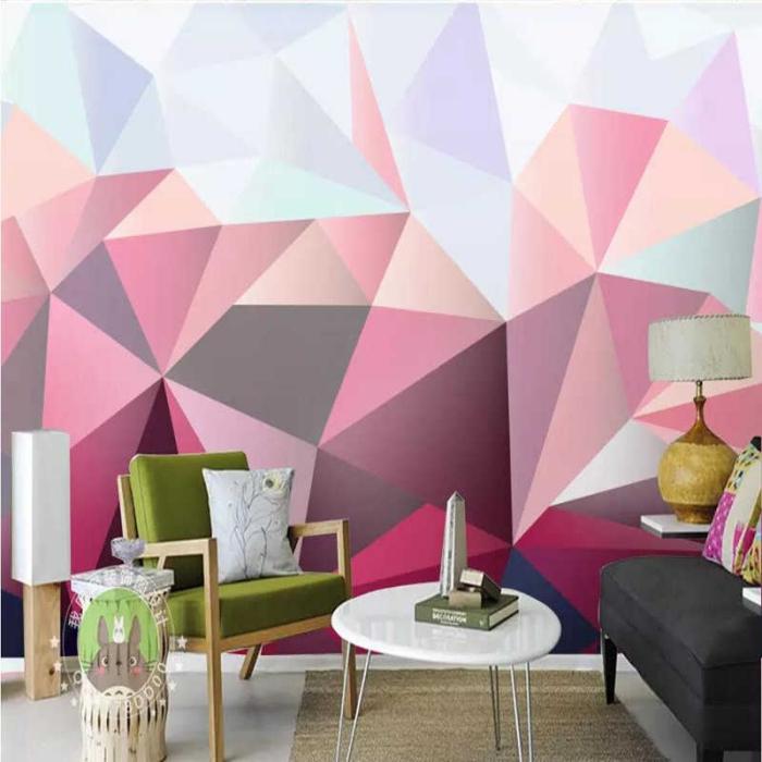 farbtrends 2020, wanddeko ideen, goemetrische deko, wohnzimmer dekorieren, bunte farben