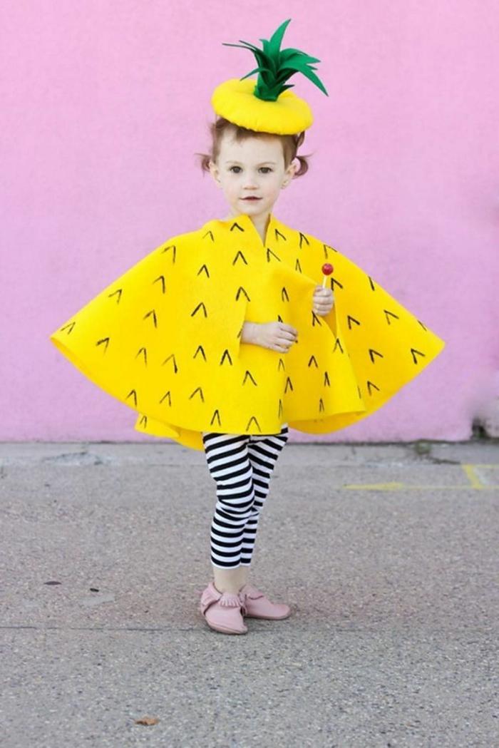 Ananas Kostüm Karneval mit Hut, Karnevalskostüme für Kinder, gestreifte Leggings in schwarz und weiß