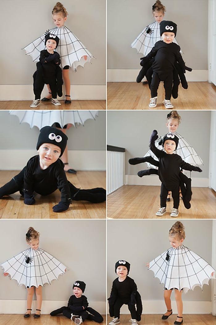 Faschingskostüme Jungen, Spinnen Kostüm in schwarz mit Beine, Mädchen im Spinnennetz Kostüm in weiß