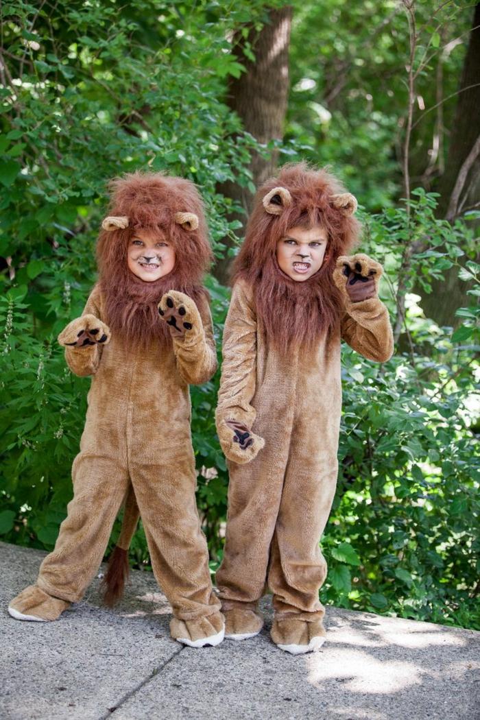 Kinder in Löwen Kostüme mit Mähne, dunkle ocker Farbe, Faschingskostüme Kinder Mädchen,
