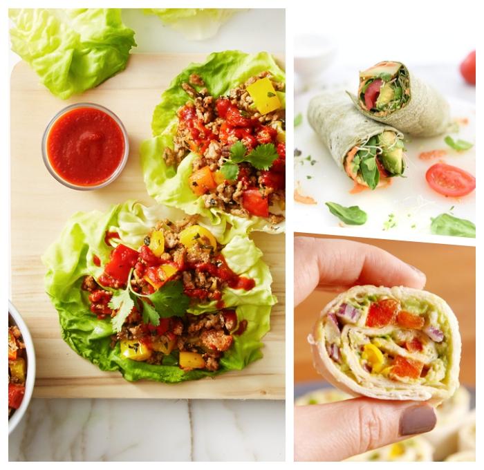 füllung für wraps ideen, low carb rezept mit hackfleisch und tomatensoße, burittos ideen