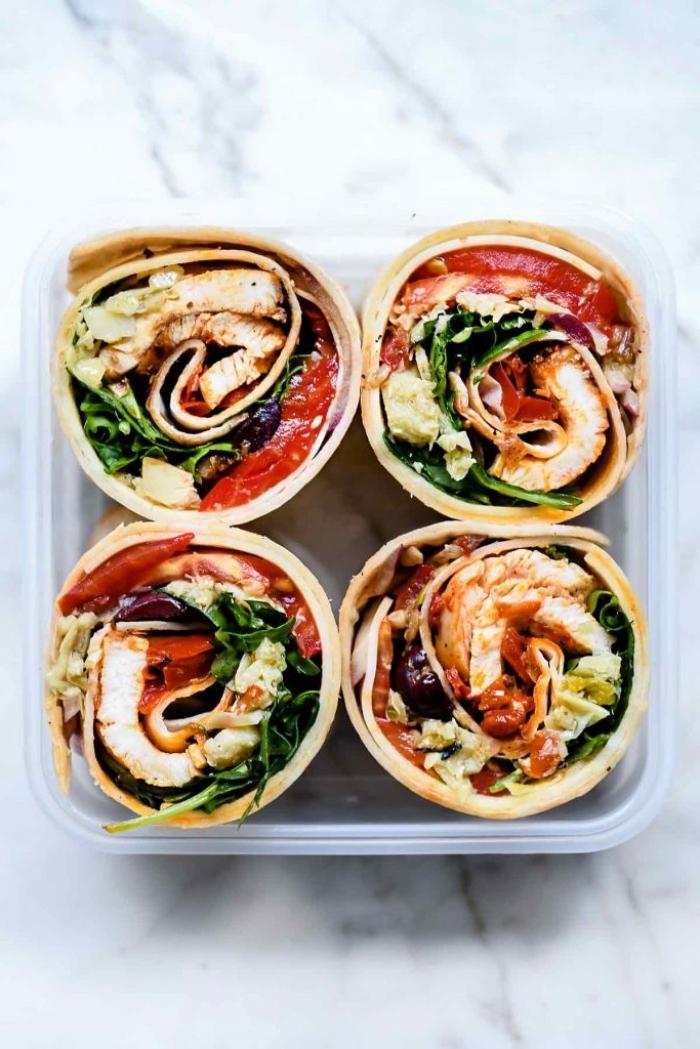 füllung für wraps, italienische huhn burittos mit tomatensoße und spinat, essen fürs büro