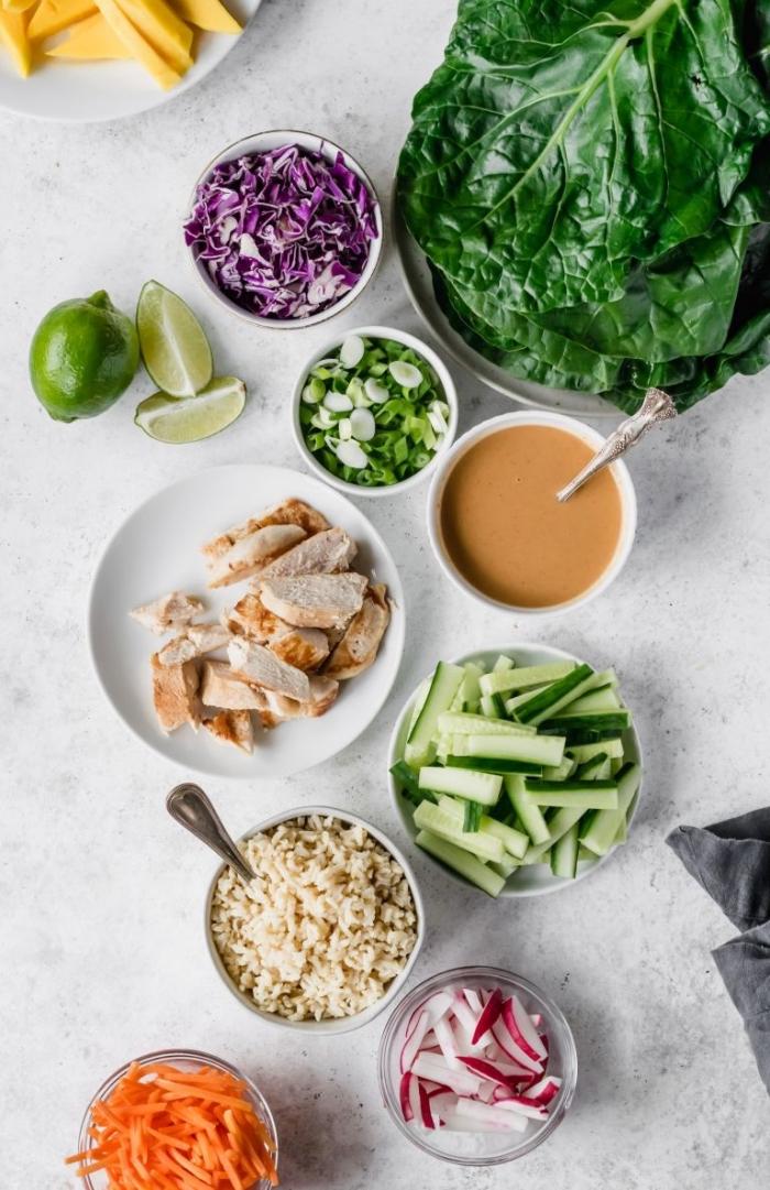 füllung für wraps selber machen, low carb tortillas mit hänchenfleisch, reis und gemüse