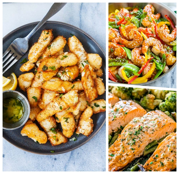 gesundes essen rezepte, low carb gerichte, garnelen mit paprika und kräutern, lachs mit butter