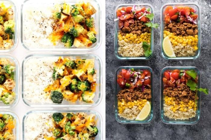 gesundes essen rezepte, reis mit hackfleisch und tomatensalat, mittagessen zum mitnehmen