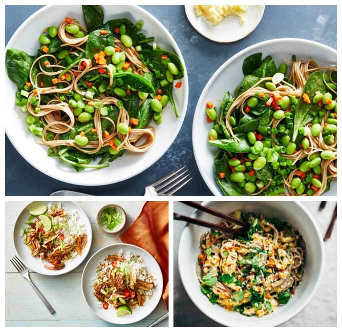 gesundes essen rezepte, schnelle gerichte, reis mit hänchenbrust un limetten, nuddeln mit bohnen und spinat