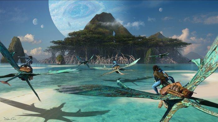 neuen konzeptbilder zu der kommenden fortsetzung von avatar, meer und insel mit grünen bäumen, fliegende grüne mountain banshee und blaue navi, viele blaue planeten
