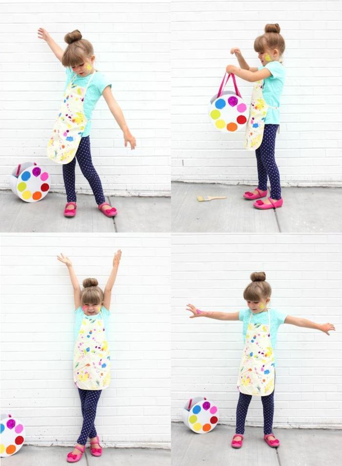 Faschingskostüm Künstlerin, Karnevalskostüme für Kinder, Bunte Schürze und selbstgemachte Palette aus Karton, Mädchen mit pinken Schuhen und grünes T-Shirt