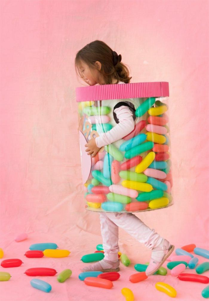 Glas mit bunten Streusel Kostüm, Streusel auf dem Boden Deckel in pink, Kinderkostüme Fasching