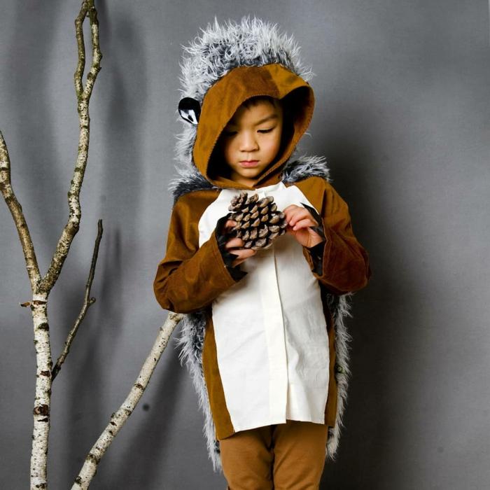 Igel Kostüm in braun und weiß mit stacheln in weiß und schwarz, Faschingskostüm Kleinkind, Junge hält Zapfe,