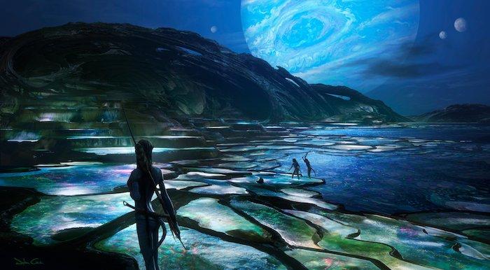 mond und viele blaue planeten, eine szene aus pandora, navi und insel und mee mit lichten, erste bilder zu dem film avatar 2
