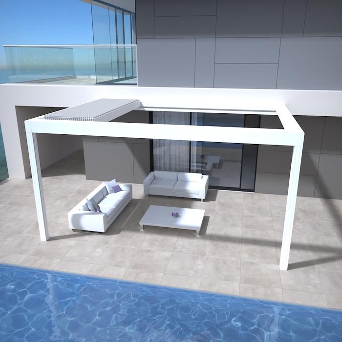 Praktisches Lamellendach neben dem Pool, weiße Sofas und Couchtisch