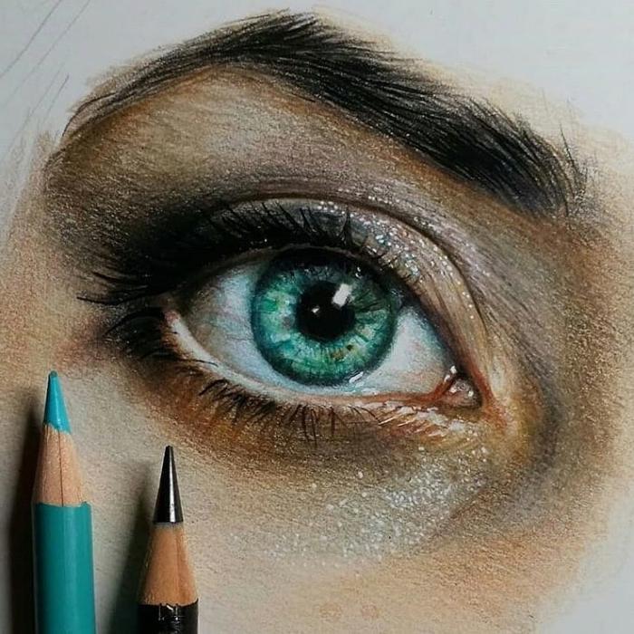 malen lernen schritt für schritt, frauenauge zeichnen mit farbigen bleistiften, realtiisch