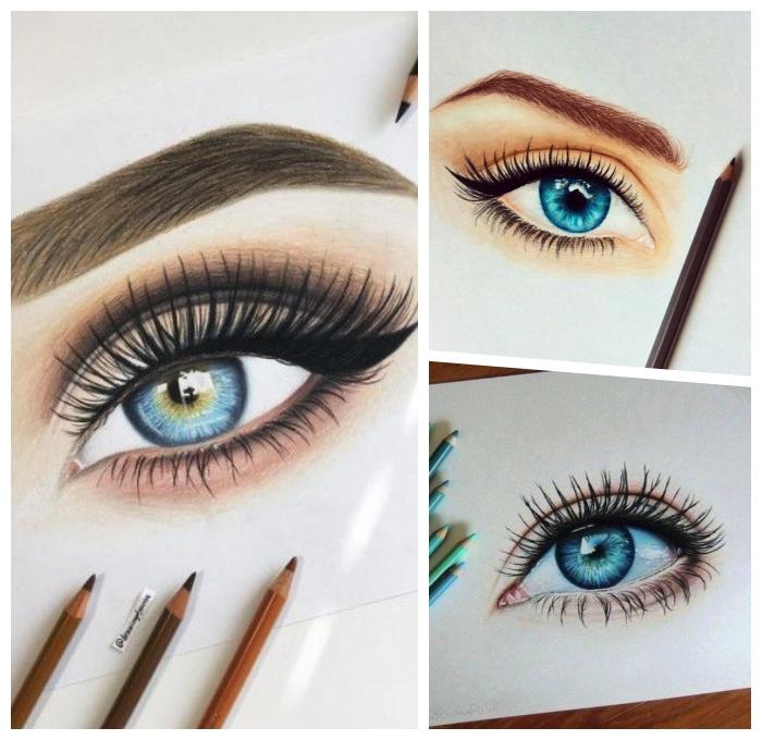malen lernen schritt für schritt, was kann ich heute zeichnen, blaue augen, zeichnen mit farbstiften