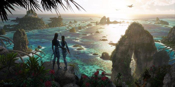 erste offizielle bilder zu dem film avatar zwei, pandora mit meer und vielen kleinen inseln mit grünen pflanzen, zwei blaue navi
