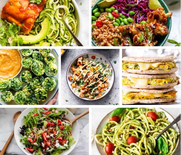 mittagessen ideen, die bestne rezepte, sandwiches mit eiern und käse, vegetarische frühlingsrollen, healthy bowl