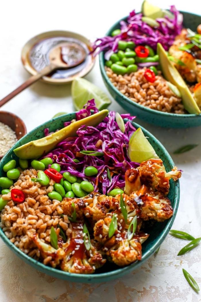 mittagessen ideen, was koche ich zum mittag, teriyaki bowl mit bohnen, rotkohl und sonnenblumenkohl