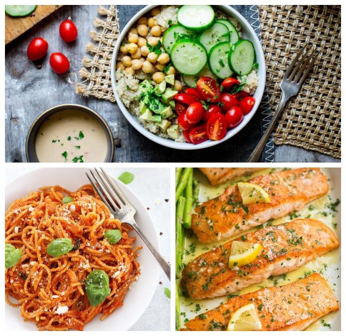 mittagessen vorschläge, was kann ich zum mittag kochen, pasta mit basilikum und tomatensoße, kichererbsen mit gemüse