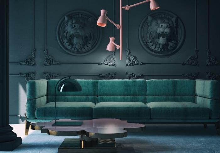 moderne wandfarben ideen, blaugrünes sofa, rosa leuchte, designer tisch aus metall