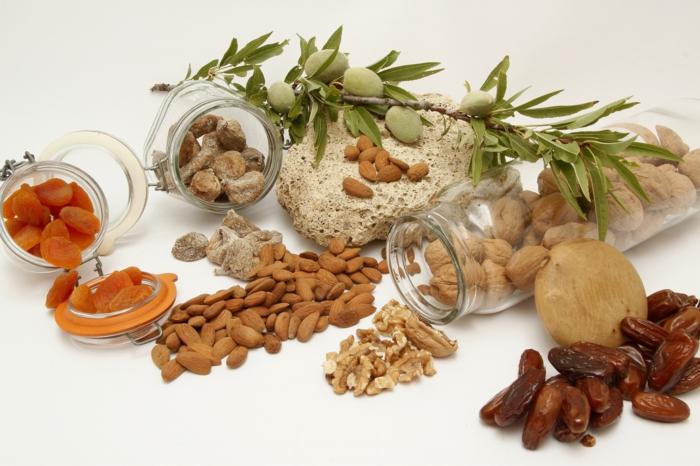 Projekt gesund leben, verschieden Nüsse, Mandeln und Walnüsse, getrocknete Aprikosen und Datteln