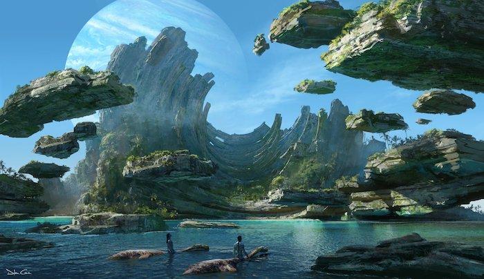 zwei navi im meer und neue kreaturen, erste offizielle konzeptbilder zu dem kommenden film avatar zwei, ein blauer mond und insel