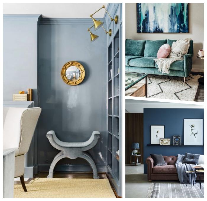 pantone farbe 2019, graue wand, wanddeko ideen, runder spiegel, trendige farbideen