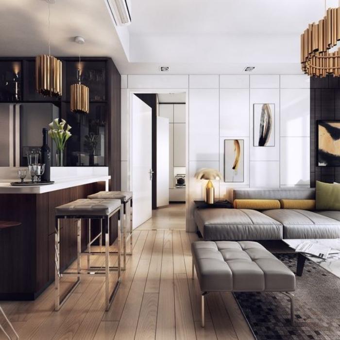 pantone farbe 2019, wohnzimmer und küche in einem, einrichtung in weiß, braun und grau, goldene akzente