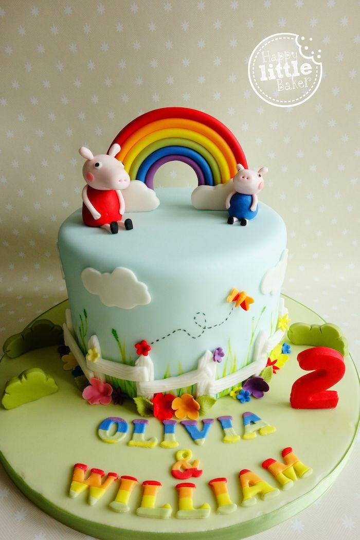 Torte für Kindergeburtstag mit Peppa Wutz und Schorsch, Regenbogen und zwei kleine Wolken, bunte Schmetterlinge und Blumen